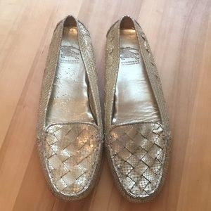 Burberry Snake Skin Gold Loafers Size 40